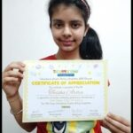 Twisha Arora of class 7th procured 6th position in 'Inter National Creative Writing Competition' was awarded the Certificate for achievement at International and State level.